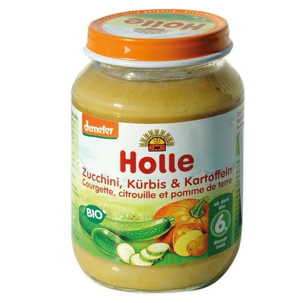 Κολοκύθα, κολοκυθάκι πράσινο και πατάτα σε βάζο Holle